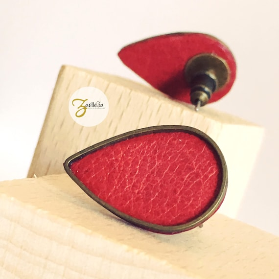 """Earrings Stud, drop red metal - model """"KALI"""" al. HOLi leather / / graphic / / chic / / wedding / / ceremony"""