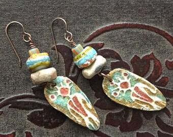 Tribal, boho, petroglyph dangle earrings, artisan made earrings