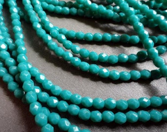 4mm Persian Dark Turquoise Fire Polished Czech Glass Beads - Bead Soup Beads