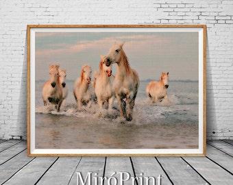 White Horses Print, Horse Wall Art, Horse Photography Print, Horses Running in Water, Modern Decor, Horse Print, White Horse, Beach Decor
