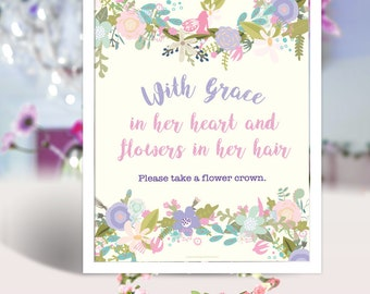 Flower Crowns & Wands Fairy Garden Party Purple 8x10 Table Signs   Tea Party Birthday Sign Centerpiece   Instant Download Printable Digital
