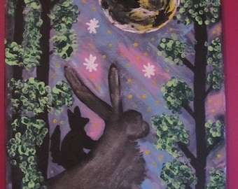 Fox & hare whimsical painting