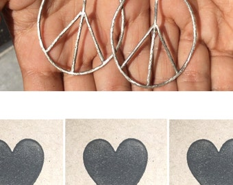 large peace sign double hoop earring