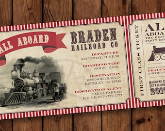 Train Birthday Invitation, Boarding Pass Invitations, Train Birthday Party Invite, Birthday Invitation Ticket, Boarding Pass Invites, #004