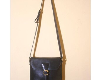 Vintage Designer Valentino Garavani Black Buckle Sling Crossbody Purse Bag
