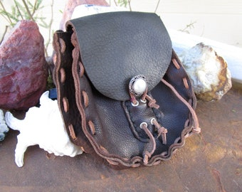 Dark Brown Leather Belt Pouch~Renaissance Faire Accessory~Ritual Pouch~LARP~Hand Stitched~Costume