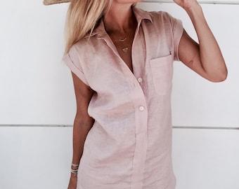 The Midtown Dress, Linen Shift Dress  - Collared, Button Down, Dust Pink Linen