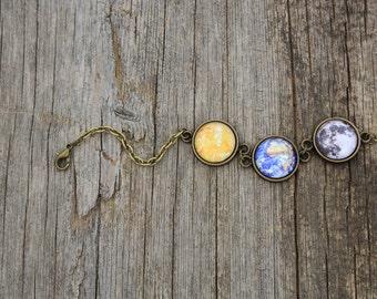 Solar System Bracelet, Planet Bracelet, Earth Bracelet, Full Moon Bracelet, Solar System, Space, Universe, Planet Jewelry, Sky, Stars