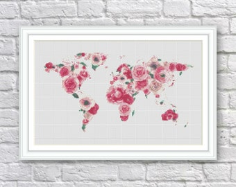 BOGO FREE! Floral World Map Cross Stitch Pattern, World Map Silhouette Flowers Counted Cross Stitch Chart Modern Decor, PDF Download, S106