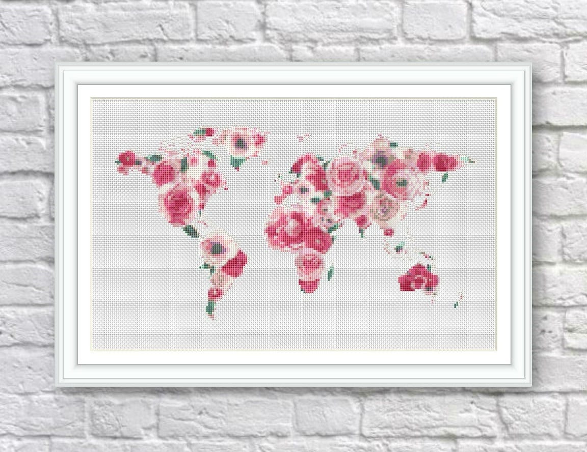 Bogo free floral world map cross stitch pattern world map zoom gumiabroncs Image collections