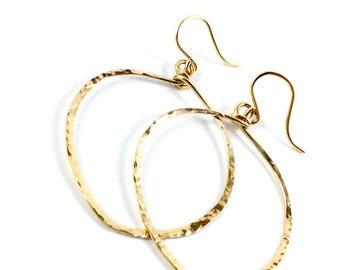 14k Gold Hoop Earrings / Hammered gold earrings / Hoop Earrings / leaf shaped Hoops / Big Hoop Earrings