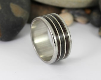 Damascus Steel Ring With Megalodon Tooth, Silver and Wood Inlay
