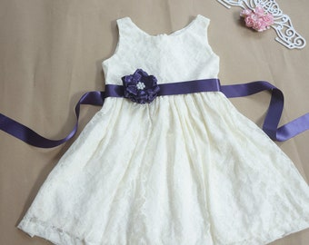 Flower girl dress with sash Lace flower girl dress Plum flower girl dress Country flower girl dress Ivory flower girl dress