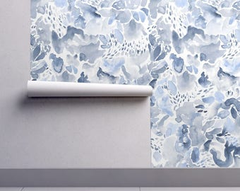 Watercolor Wallpaper - Abstract - Blue Period By Vo Aka Virginiao - Custom Printed Removable Self Adhesive Wallpaper Roll by Spoonflower