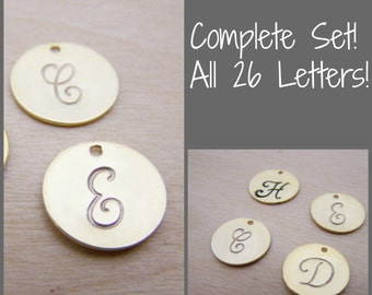 Complete Set - Gold - Hand Stamped Gold Initial Charm / Script Font / Alphabet Intial Disc - Jewelry Findings - Alphabet Charm Set