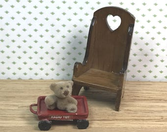 MINIATURE CHILDREN'S THINGS,  Wood Chair, Metal  Toy Wagon, Fuzzy Bear, Child-Size 1:12 Scale, Vintage Dollhouse Decor