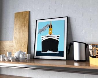 RMS Titanic Art Print - Modernist Titanic Painting