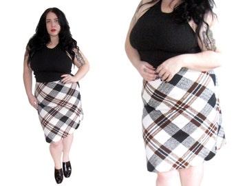 Plus Size Skirt l Vintage 1970's Plaid Skirt l Size XL l Vintage Skirt