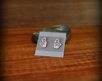 Espresso bean earrings, Sterling silver coffee bean post earrings