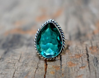 London Blue Topaz Quartz ring , solid sterling silver ring , handmade ring , Quartz  ring , gemstone ring A88