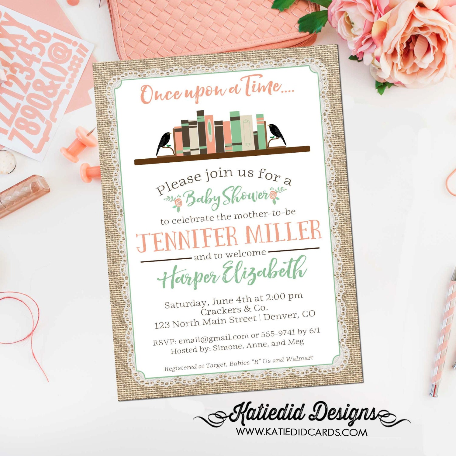 Once upon a time baby shower invitation storybook burlap lace mint ...