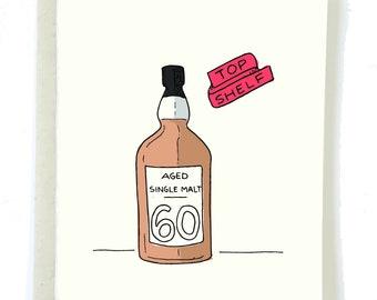 60th Birthday Card, AGED SCOTCH BDAY Card, Getting Older Card, Happy 60th Birthday Card, Whiskey Card, Alcohol Bday Card, Dad Birthday