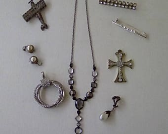 Vintage Instant Collection Jewellery Assemblage Pendant Brooch Cross Earrings Marcasite