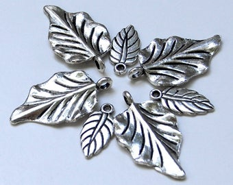 7 Silvertone Leaf Charms in Two Sizes