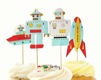 Robot Cupcake Toppers (12) Spaceship Cupcake Toppers-Robot Party-Outer Space Birthday-Robot Baby Shower-Robot Birthday-Robot Theme-Boy Party