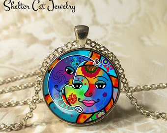 "Multicolored Sun and the Moon Necklace - 1-1/4"" Circle Pendant or Key Ring - Wearable Art Photo - Celestial, New Age, Nature, Magic Gift"