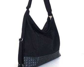 Convertible hobo purse with outside pocket,convertible backpack,travel backpack,Black backpack,backpack purse, convertible shoulder bag
