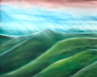 Landscape painting in soft pastels. Emerald mountains. Framed 22 by 18 inches