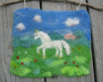 Unicorn Felt Painting, Wool Nursery Unicorn Decoration,