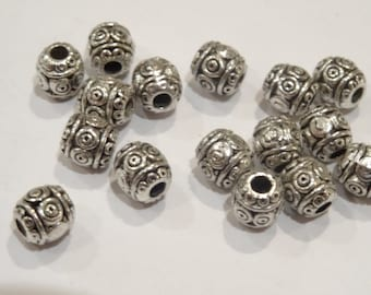 50 Antique Silver Spacer Beads 6mm - BD61