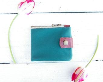 Women's leather wallet Leather wallet mens Unisex minimalist wallet Credit card case Card holder Green coin purse zipper Gift girl men purse