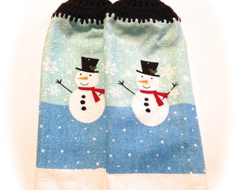 Snowman Hand Towels With Black Crocheted Tops- Pair