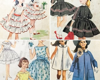 4 VTG 50's/60's sz 10 Girls' Sewing Patterns Helen Lee Party Dresses Coat (0273)