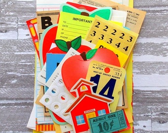 Teacher School Ephemera Pack / 30+ Pieces / Scrapbook Supply / Paper Ephemera / Vintage Ephemera / Tags / Junk Journal