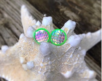 12mm Mermaid Scale Studs, Dragon Scale Earrings .