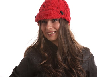Knit Red Hat, The Red Jockey Cap, Wool Hat, Hand Knitted by Solandia, Newsboy Hat, Christmas gift, Knitted Gift