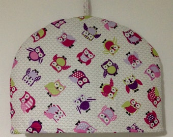 Handmade Toot Owl Purple Pink Lime Cream Tea Cosy