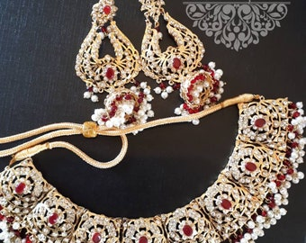 New Hyderabadi jewellery Pakistani indian necklace set tikka earrings gold plated in ruby stone