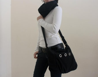 Black Women Messenger bag,Diaper bag,Tote bag,hobo Cross body,Gift for her, Vegan canvas bags  - Sale 25 %- / no.16 DENISE