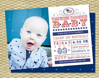 July 4th First Birthday Invitation Red White and Blue Yankee Doodle Baby 4th of July Birthday Invition Patriotic Birthday Invitation