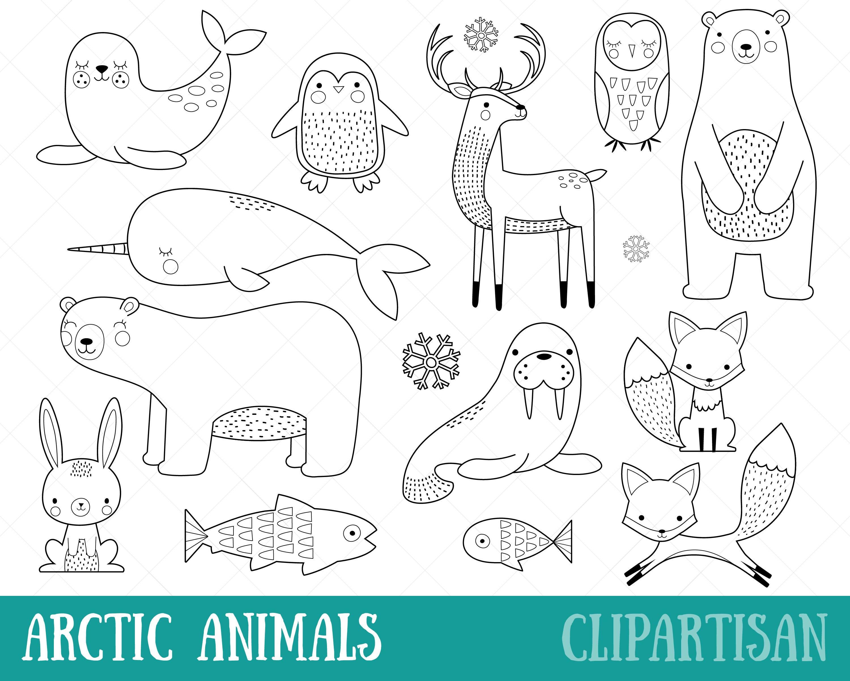 Arktische Tiere Clipart Digitale Briefmarken Vektor