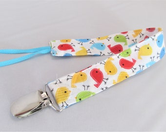 Universal Fabric Pacifier & Toy Clip - Bitty Birds in Primary Colors - Neutral - Paci Clip, Teether Clip, Binky Clip, Baby Shower Gift