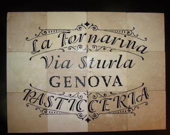 "Italian Country Script: PASTICCERIA /Bakery Shop 100% Travertine  Back Splash Tiles Set 24"" x 18"""