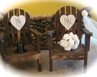 Rustic Wedding Mini Adirondack Chairs Cake Topper With Veil, Bouquet And  Top Hat. Personalized