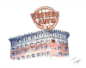 Western Auto Building - Kansas City - Archival fine art print from my original ink and watercolor painting