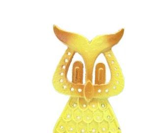 Retro Yellow Owl Earring Holder